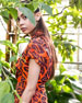 Tropical-Leaf Jacquard Safari Trench Jacket