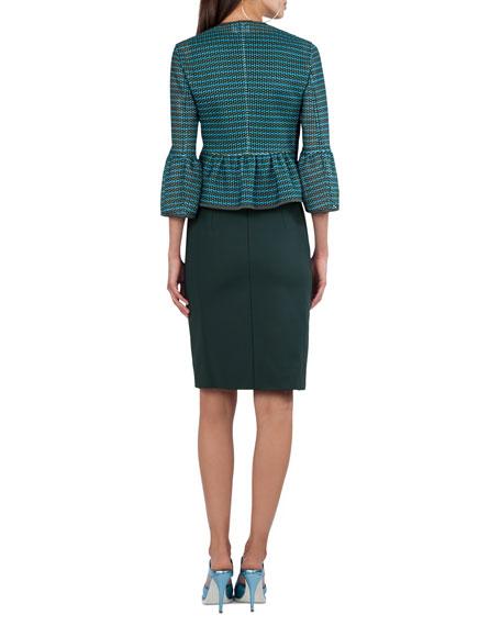 Front-Zip Printed Mesh Knit Jacket