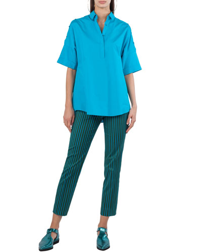Striped Straight-Leg Cotton-Stretch Pants and Matching Items