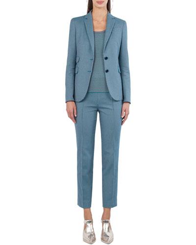 Cotton-Stretch Jacquard Woven Straight-Leg Pants and Matching Items