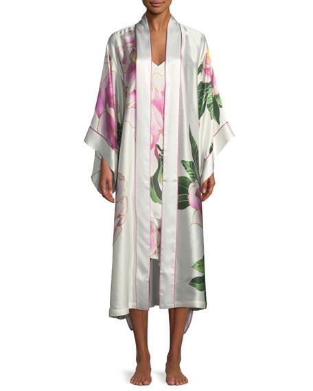 Clair de Lune Floral-Print Long Silk Robe