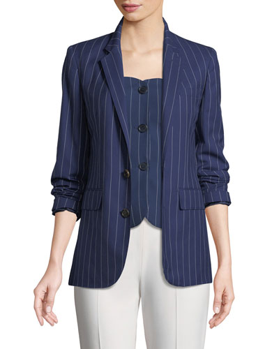 Roberts Single-Breasted Pinstriped Wool Jacket and Matching Items