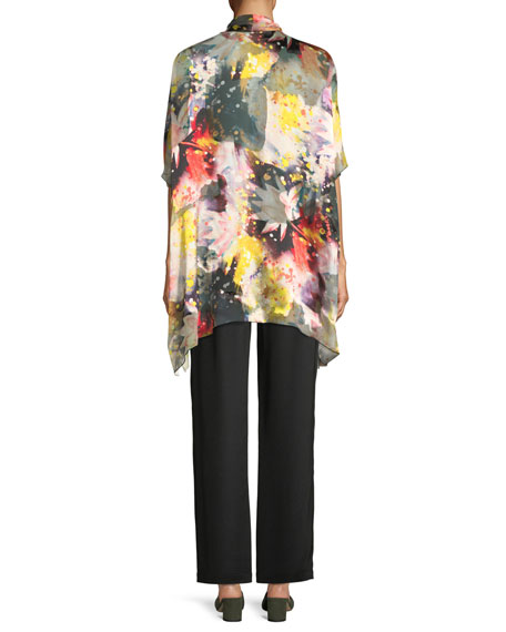 Wild Flower Silk-Blend One-Size Caftan Cardigan, Plus Size