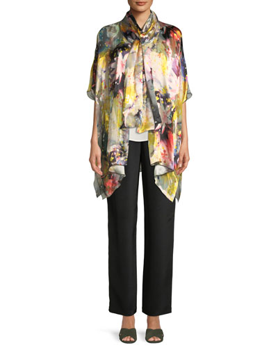 Wild Flower Silk-Blend One-Size Caftan Cardigan and Matching Items, Plus Size