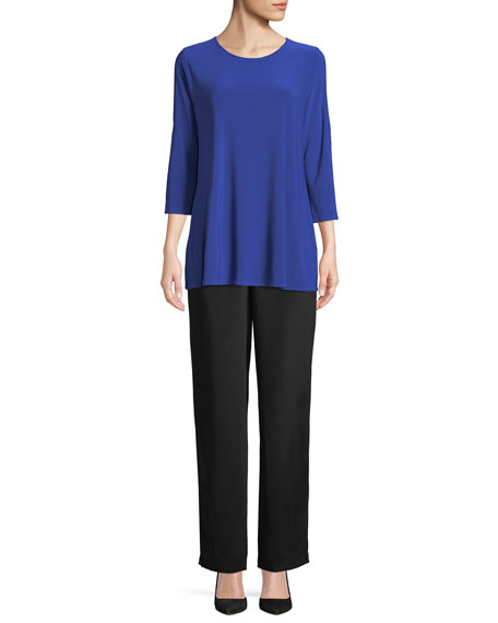 3/4-Sleeve Open-Shoulder Jersey Top, Plus Size