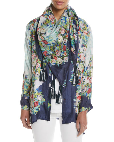 Madeline Floral Silk Button-Front Top and Matching Items, Plus Size