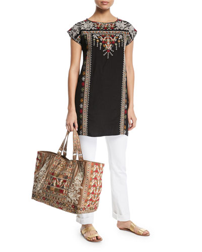 Allya Embroidered Linen Tunic Dress and Matching Items