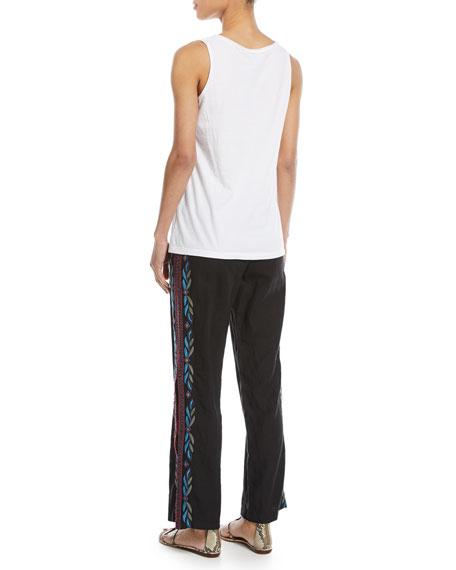 Izamal Embroidered-Side Linen Pants, Plus Size