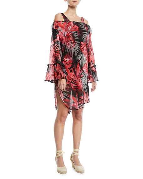 Off-the-Shoulder Printed Tulle Coverup Tunic