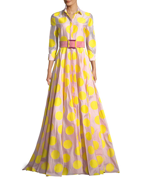 3/4 Sleeve Dot-Print Fil Coupé Trench Gown