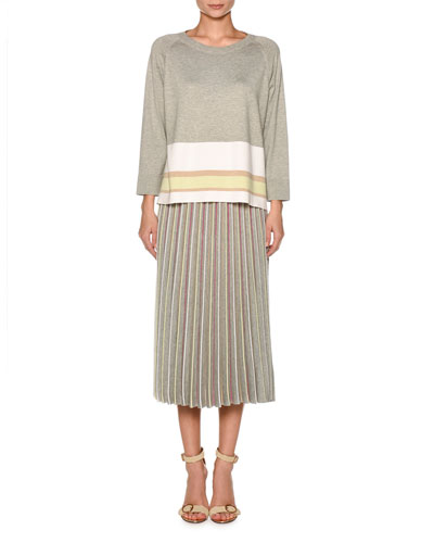 Crewneck Long-Sleeve Boxy Knit Top with Stripe Hem and Matching Items
