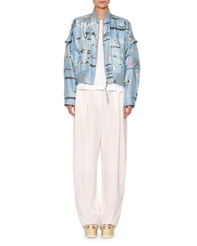 Zip-Front Palm-Tree Print Silk Bomber Jacket and Matching Items