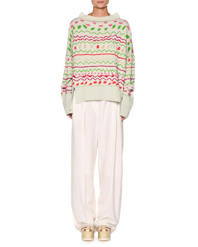 Fair Isle Boat-Neck Oversized Embroidered Sweater and Matching Items