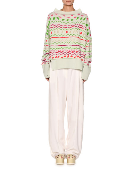 Fair Isle Boat-Neck Oversized Embroidered Sweater