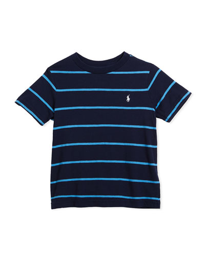 Slub Jersey Stripe T-Shirt, Blue, Size 2-4  and Matching Items