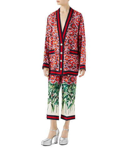 Garden-Print Silk Twill Long-Sleeve Pajama Top and Matching Items