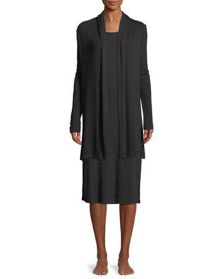 Cotton-Blend Short Wrap Robe