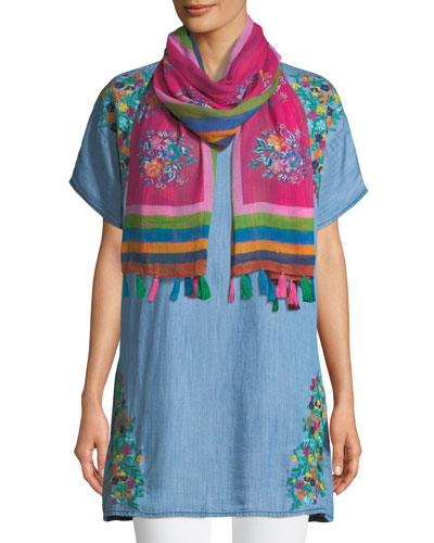 Tiffany Embroidered Denim Tunic and Matching Items, Plus Size