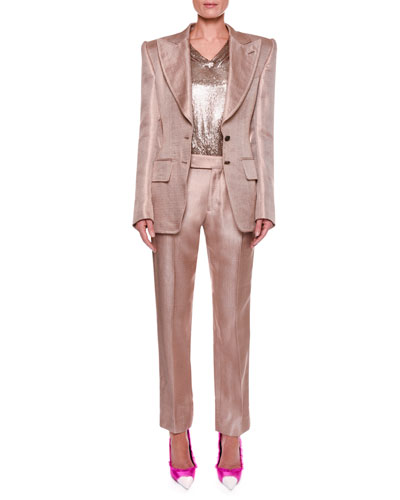 Metallic Twill Two-Button Jacket with Strong Shoulders and Matching Items