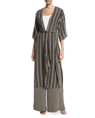 Long V-Neck Self-Tie Kimono Jacket and Matching Items