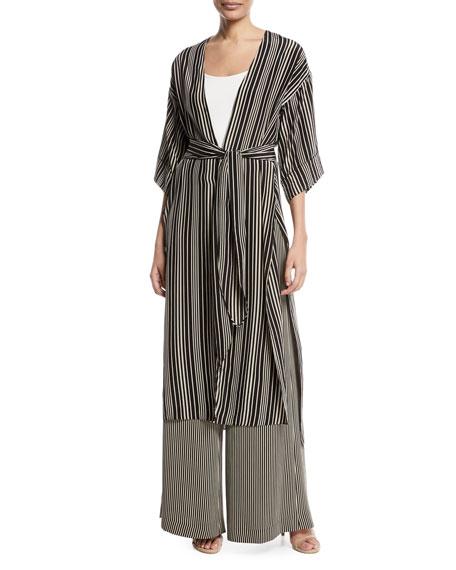 Long V-Neck Self-Tie Kimono Jacket