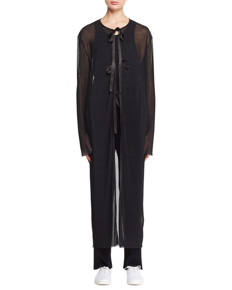 Liet Tie-Front Sheer Voile Plisse Jacket