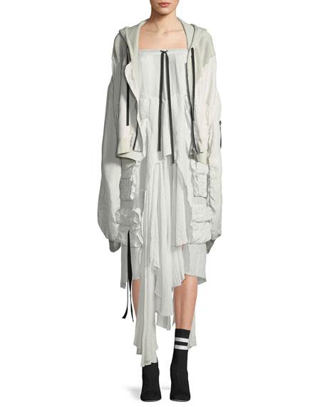 Long-Sleeve Hybrid Silk Mesh Sweatshirt Hoodie