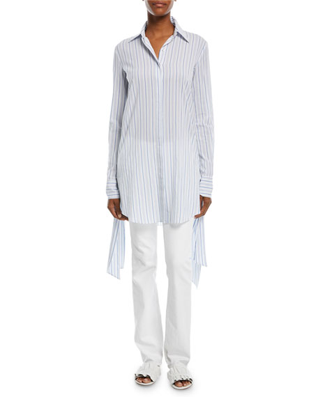 Moroccan Striped Streamer-Side Long-Sleeve Cotton Gauze Shirt