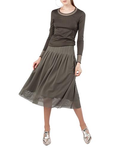 Crewneck Long-Sleeve Mesh-Detail Jersey Top and Matching Items