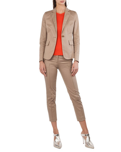 Stretch-Cotton One-Button Jacket and Matching Items