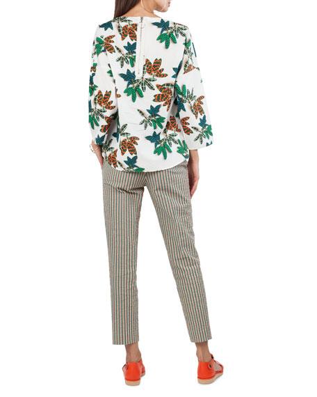 Tropical Leaf-Print Cotton Top