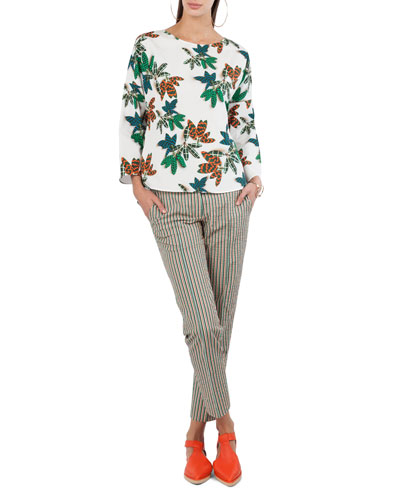 Tropical Leaf-Print Cotton Top and Matching Items