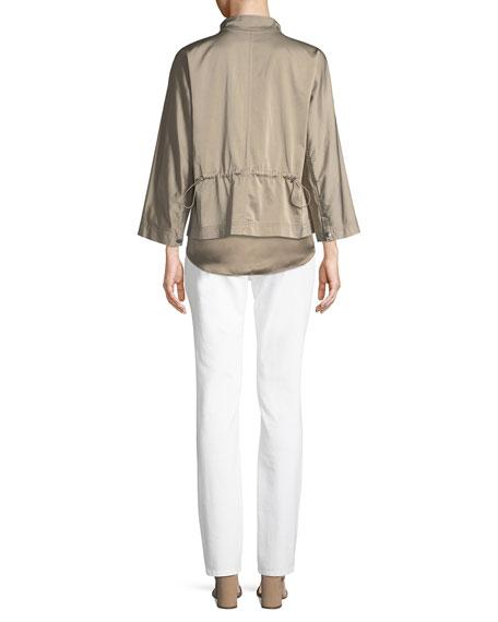 Neely Urbane Satin Zip-Front Jacket