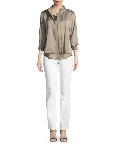 Neely Urbane Satin Zip-Front Jacket and Matching Items