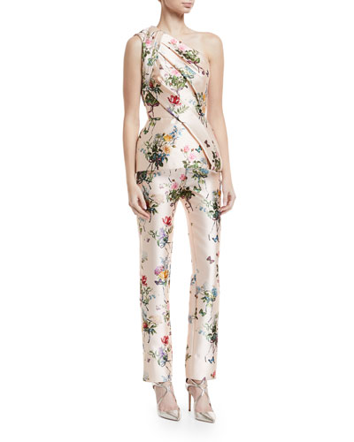 Botanical-Print Mikado One-Shoulder Draped Peplum Top and Matching Items