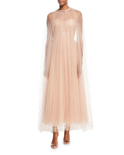 Golden-Dot Tulle Floor-Length Cape and Matching Items