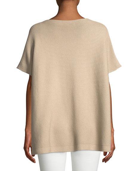 Silk-Blend Textured Poncho Sweater
