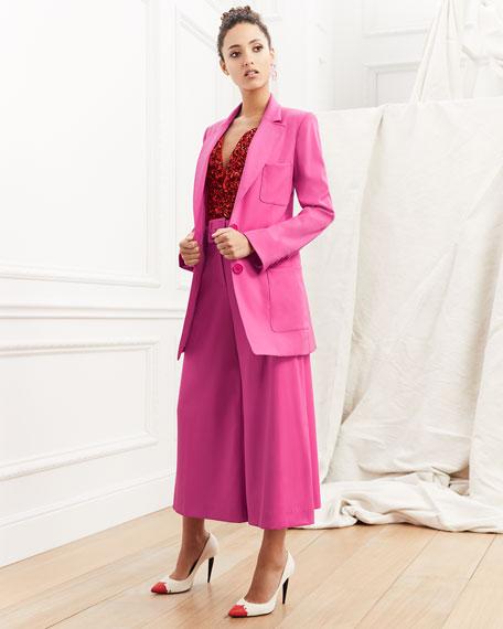 Two-Button Long Wool Blazer
