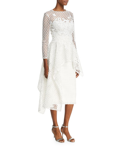 Long-Sleeve Open-Lace Blouse with Asymmetric-Hem  and Matching Items