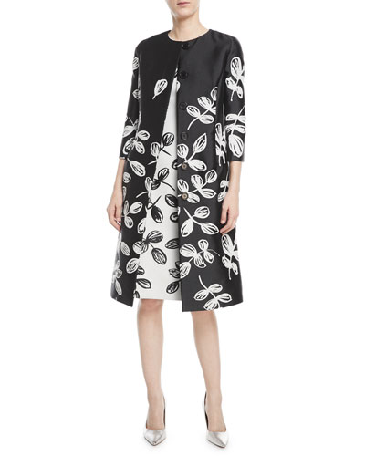 Fern-Embroidered Sateen Coat and Matching Items
