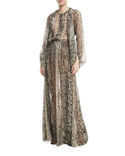 Snake-Print Long Cape Sleeves Georgette Top and Matching Items