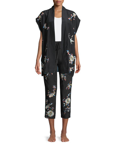 Mariposa Embroidered Silk Lounge Pants and Matching Items