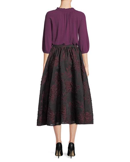 Scallop-Neck 3/4-Sleeve Fine Cashmere Knit Top