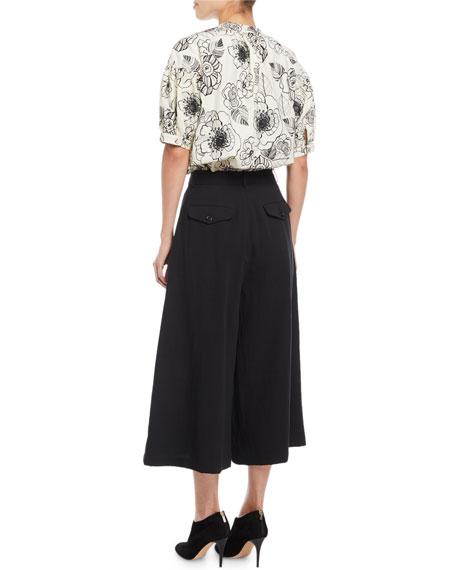Crewneck Elbow-Sleeve Floral-Print Cotton Top