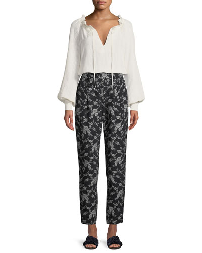 Cinched-Neck Long-Sleeve Jacquard Cloqué Blouse and Matching Items