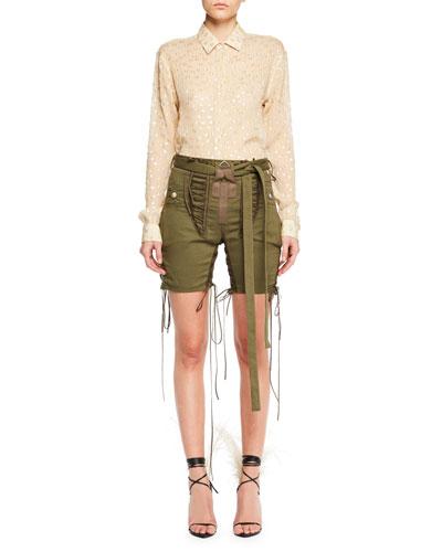 Long-Sleeve Button-Front Metallic-Dot Silk Shirt and Matching Items