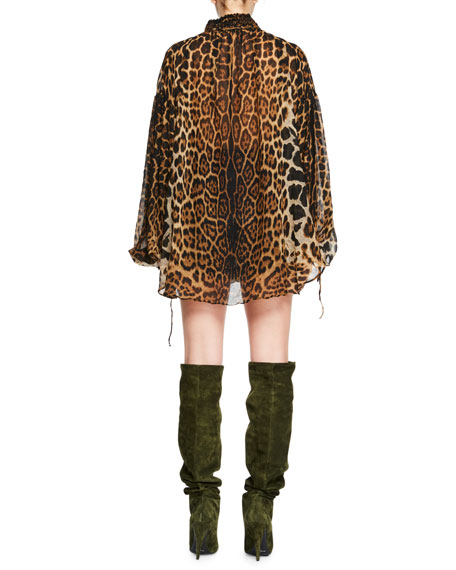 Leopard-Print Long-Sleeve Peasant Blouse