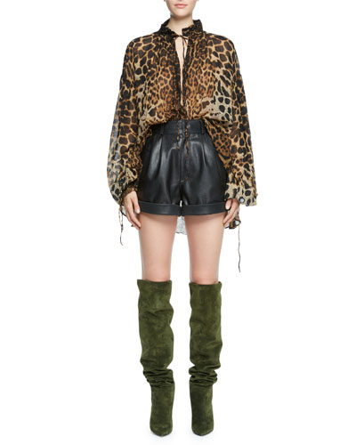 Leopard-Print Long-Sleeve Peasant Blouse  and Matching Items
