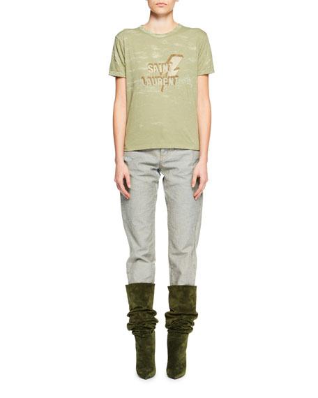 Crewneck Short-Sleeve Distressed T-Shirt w/ Lightning Bolt & Logo
