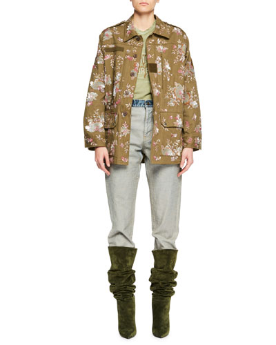 Floral-Embellished Canvas Safari Jacket and Matching Items